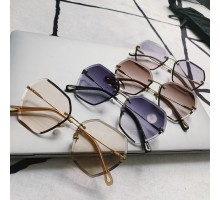 多角形レンズ デザイン サングラス女性丸い顔個性的リムレス メガネ ブランド縁なしライトカラーレンズ灰色サングラス紫外線カットめがねフチなし大きいフレーム眼鏡