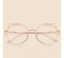 メタル伊達メガネフレーム女子ブルーライトカットおしゃれ高級金属めがね快適ダテメガネ猫耳かわいいネコミミ度なしファッション丸いピンク色眼鏡ねこみみレディース度付きメンズ