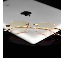 パソコンPCメガネ男女リーディングメガネ眼鏡リムレス縁なし知性ペア大人ブルーライトカットめがね度なし度付きレンズ近視対応UVカット薄いカラーレンズ