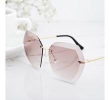 欧米人気リムレス縁なしサングラス金属メタル薄いカラーレンズ茶色サングラス女子レディースUVカットメガネおしゃれ芸能人モデル愛用サングラス多角形高級眼鏡