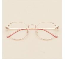 クラシック猫耳メガネフレーム個性的有名人伊達メガネ超軽量ネコミミ度付きレンズ可愛いオーバル型メタル伊達眼鏡痩せ顔効果度なしおしゃれローズゴールド色ファッション金属フルリム