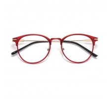 PCパソコン眼鏡おしゃれ度付き伊達メガネ女性ブルーライトカット赤いフレーム男性軽量セルフレーム ラウンド型ダテメガネ細い レトロ レッド色異素材ファッション黒縁丸眼鏡