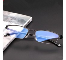 【超目玉SALE】最新ハーフリム(ナイロール)眼鏡ビジネス風出勤度付きレンズ対応メガネフレーム男女メタル金属フレーム度なし男性スクエア型超軽量