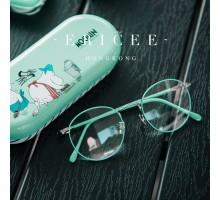 【送無/税込】おしゃれして出かける美しいかわいいミントグリーン色緑カラー度なし伊達メガネ近視対応度付きレンズ細いフレーム眼鏡ダテめがね丸い